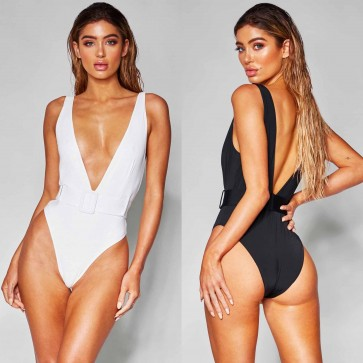 Belted High Cut Deep V Neck One Piece Swimsuit