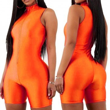 Sleeveless sexy v-neck zipper fly short outfit romper