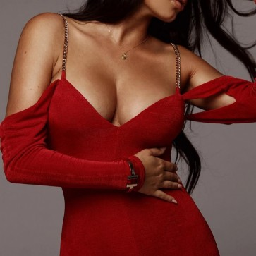 Sexy long sleeve off shoulder pencil long maxi dress