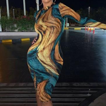 Dye Printed Skinny Party Bodycon Clubwear Slim Dress