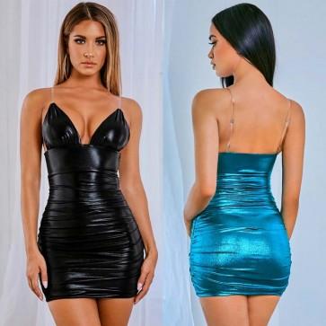 Seductive Ruched Bodycon Shine Nikita Mini Dress
