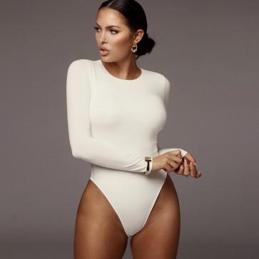 Long Sleeves Bodysuit Jewel Neck Sexy Women Top