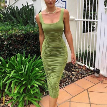 Ruched Sleeveless Backless Stretch Bodycon Pencil Dress