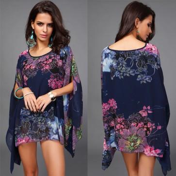 Boho Batwing Sleeve Blouse Casual Floral Loose Kimono