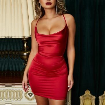 Spaghetti Strap Deep V Neck Sexy Backless Mini Dress