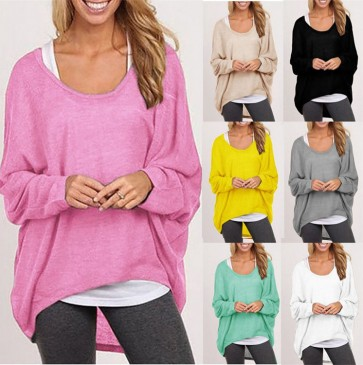 O-neck Plus Size Loose Long-sleeved Casual T Shirt