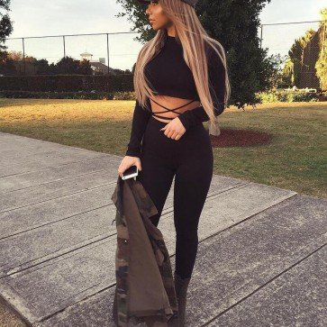 Long Sleeve Knitted Combination Femme Sport Jumpsuits