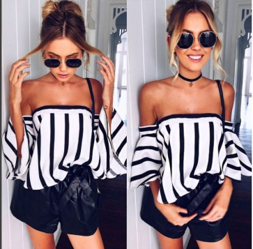 Striped off shoulder strapless bell sleeves loose tops