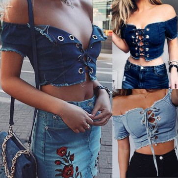 Sexy Hollow Out Front Bandage Cross Crop Top Vest
