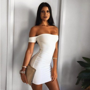 Summer Sexy Short Sleeve Off Shoulder Casual Mini Dress