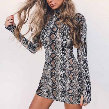 Long Sleeve Snake Print Bodycon Dress