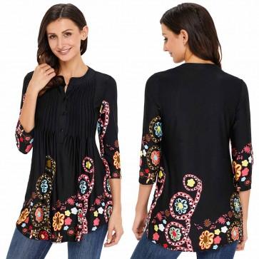 Boho Loose Long Sleeve Mini Dress Shirt Top Blouse Tee