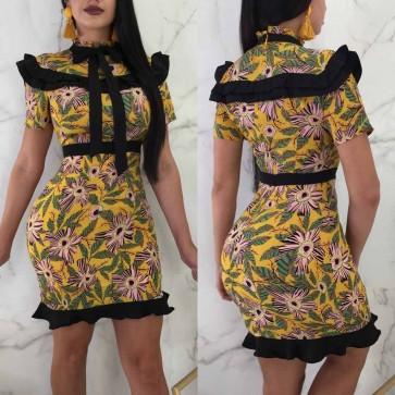 Cascading Ruffle Bow Formal Elegant Party Mini Dress