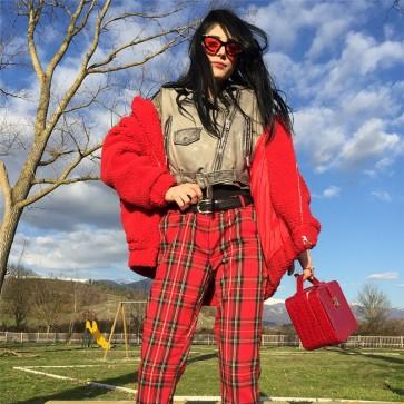 Red Plaid Pants Casual High Waist Zipper Long Trousers