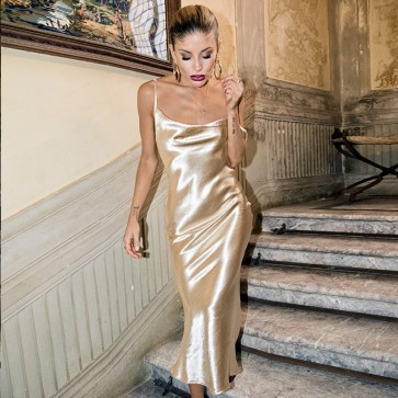 Satin Slip Sexy Backless Midi Gold Silk Long Dress