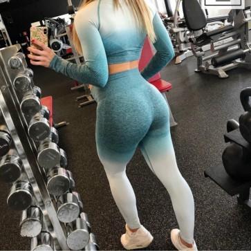 Fitness Workout Clothes Dye Print Crop Top Leggings