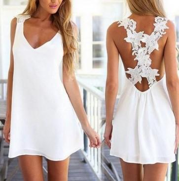 Summer hot style white Backless lace sleeveless dress