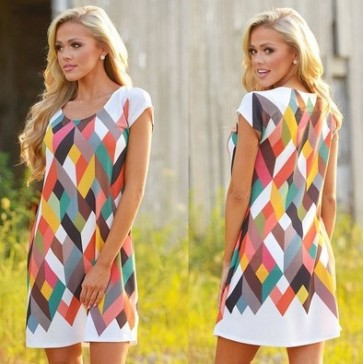Loose Multicolor Casual Short Sleeve Party Mini Dress