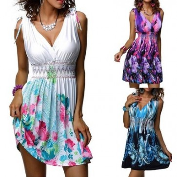 Fashion Sleeveless V-neck Backless Sexy Mini Dress