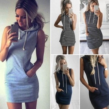 Summer Casual Sleeveless Short Hip Wrap Dress Sexy