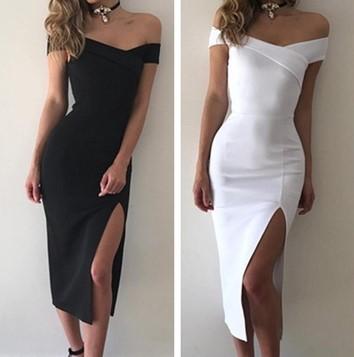 Sexy Shoulder Split Dress Slim Midi Bodycon Hip Dress