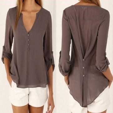 V Neck Slim Waist Long Sleeves Chiffon Blouse Shirt Top