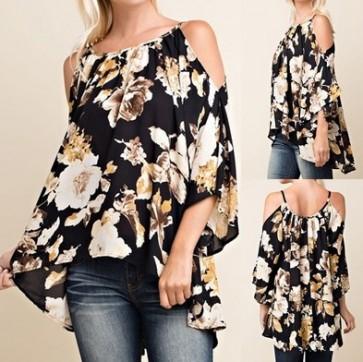 Off Shoulder Strap Tops 3/4 Sleeve T-shirt Blouse