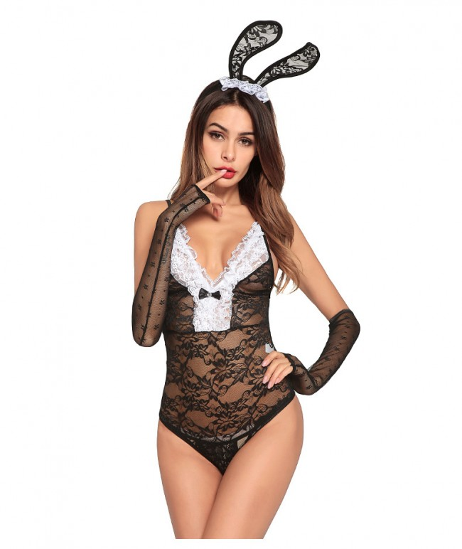08c7637d66a Sheer Lace Costume Cosplay Bunny Girl Sexy Lingerie · Zoom