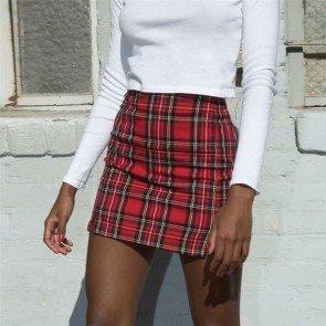 Red Black Plaid Pencil Mini Skirt