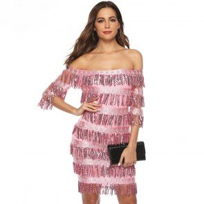 Off Shoulder Sequin Fringe Mini Dresses Evening Gown