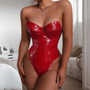 Off Shoulder Skinny Backless Strapless Latex Bodysuit
