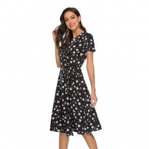 V-Neck Short Sleeve Bohemian Floral Midi Wrap Dress