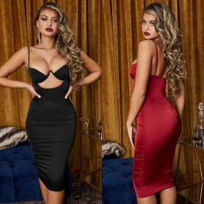 AHEAD OF THE CURVE SATIN CUT OUT MIDI DRESS