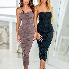 Off Shoulder Pleated Dress