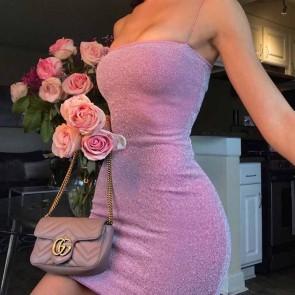 Shimmer Lurex Yarn Bodycon Cami Mini Dress