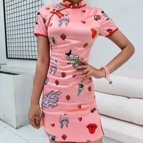 PINK CARTOON PRINTED CHEONGSAM DRESS