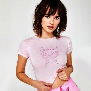 Lifestyle Glitter Butterfly Tee Spoiled Brat Crop Top