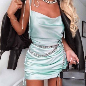 Fashion Sleeveless V-neck Backless Sexy Mini Dress