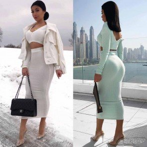 Long Sleeve Sexy Crop Tops And Long Skirt Suits