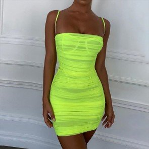 Spaghetti Strap Lime Green Bodycon Sheer Mini Dress