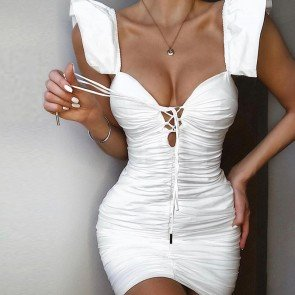 Ruched Butterfly Sleeve Deep V Neck Cut Out Dress