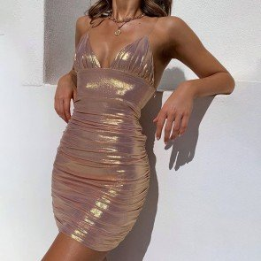 Island girl clear strap metallic body con mini dress
