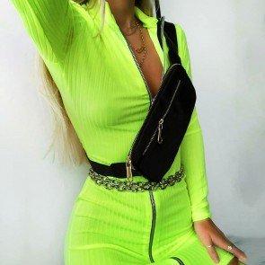 Long Sleeve Zipper Bodycon Dress