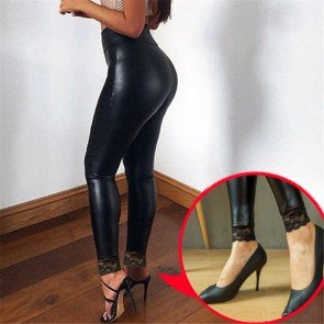 Latex Skinny Pants High Waist Stretch Slim Fit Leggings
