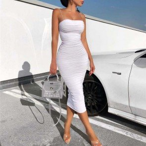Sexy Evening Ruched Midi Long Party Ruched Dress
