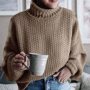 Turtleneck Sweaters Batwing Long Sleeve Pullover