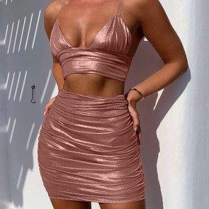 2 Piece Bodycon Skirt Set Clubwear Crop Top Wrap Dress