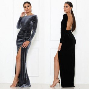 Bodycon Elegant Backless Party Split Long Maxi Dress
