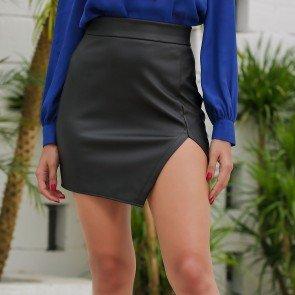 Cut Out Faux Leather Asymmetric Skirt