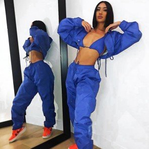 Cargo jacket 2 pieces set windbreaker capri pants